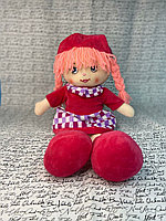 Куклы - 35см (Бежевая Кукла в красном платье с сердечках,с шляпокй в тон и  волосами розового цвета, красными сапожками, мягкая)