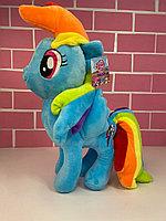 Мультяшные игрушки - 45см (Игрушка Игрушка мягкая- Маленькая понни, голубого  цвета с   радужной гривой )