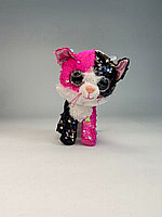 Из пайеток - 20см (Розово-черная Игрушка мягкая- Кошка-розово-черного цвета)