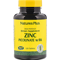 БАД Nature's Plus, Пиколинат цинка 30 мг с витамином B-6, 120 таблеток