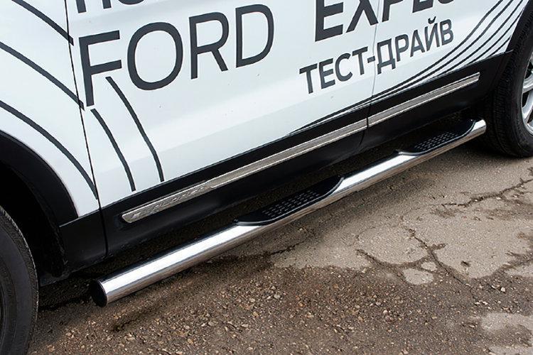 Защита порогов d76 с проступями Ford Explorer (2018)