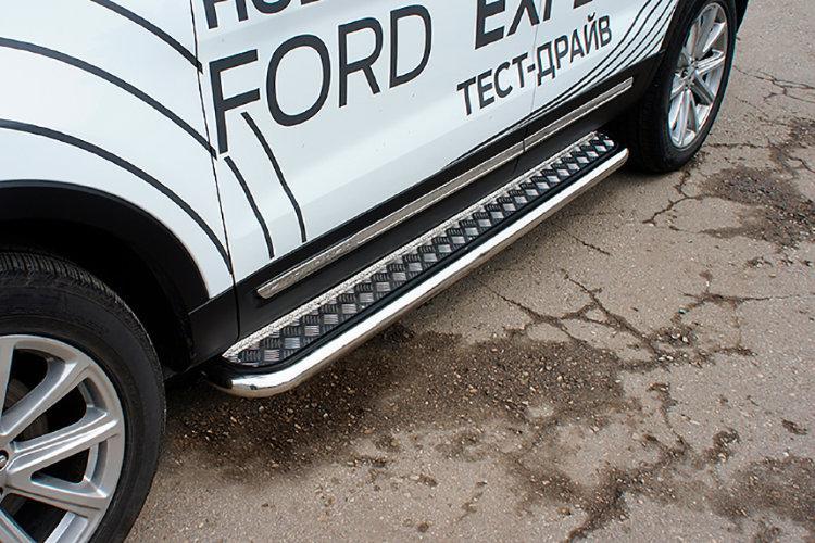 Защита порогов d57 с листом Ford Explorer (2018)
