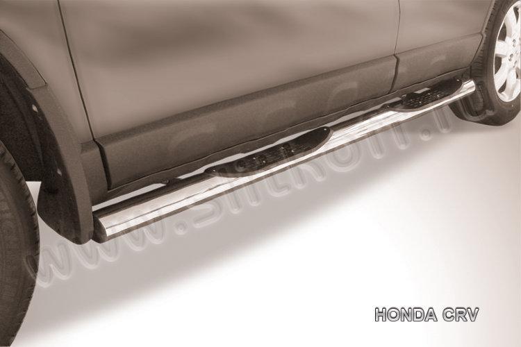 Защита порогов d76 с проступями  Honda CR-V (2009)