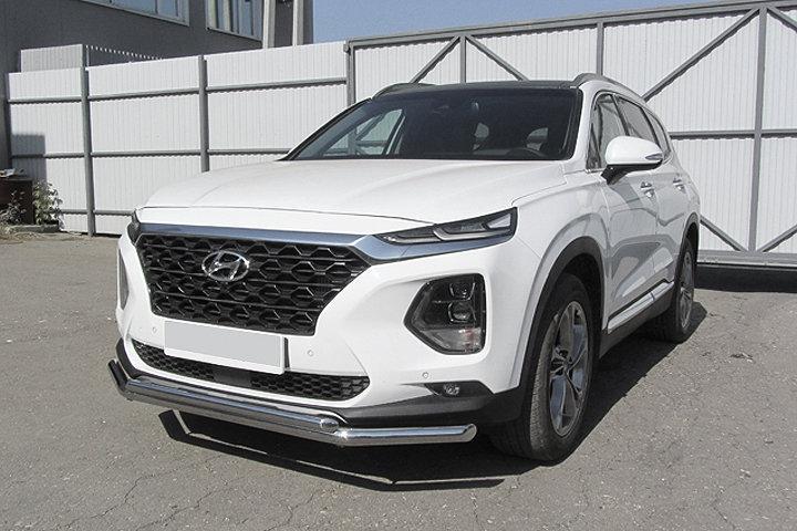 Защита переднего бампера d57+d42 двойная Hyundai SANTA-FE (2018)