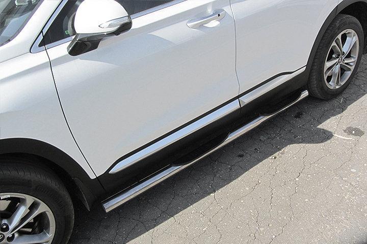 Защита порогов d76 с проступями Hyundai SANTA-FE (2018)