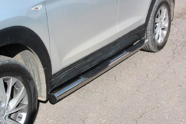 Защита порогов d76 с проступями Hyundai Tucson (2018)