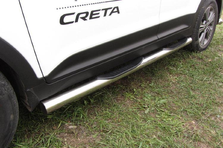Защита порогов d76 с проступями Hyundai CRETA 4WD 2016