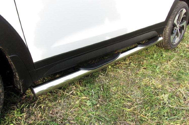 Защита порогов d76 с проступями Hyundai Tucson 4WD (2015)