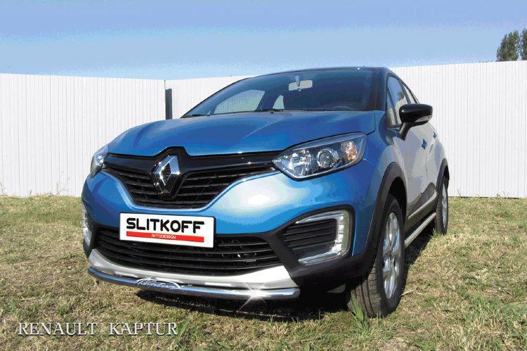 Защита переднего бампера d42 с надписью Renault Kaptur 4WD 2016