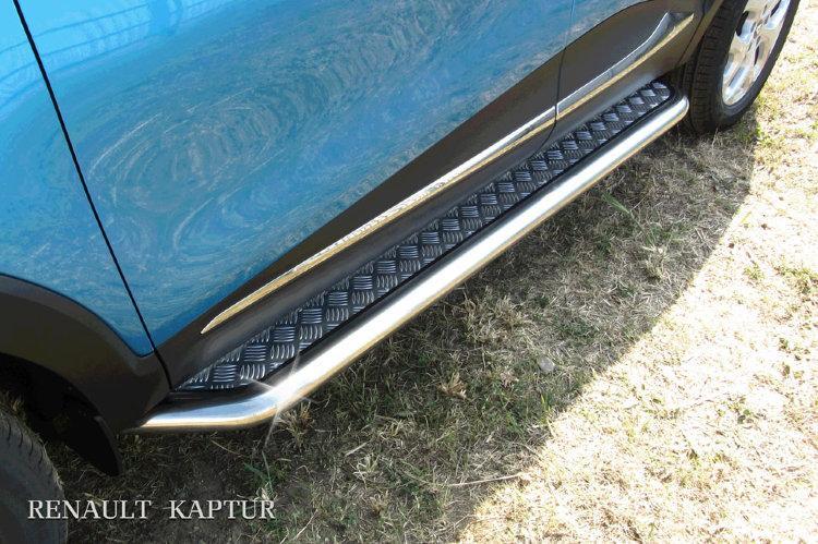 Защита порогов d57 с листом усиленная Renault Kaptur 4WD 2016
