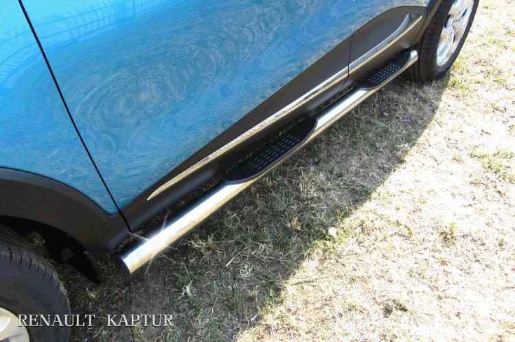 Защита порогов d76 с проступями Renault Kaptur 4WD 2016