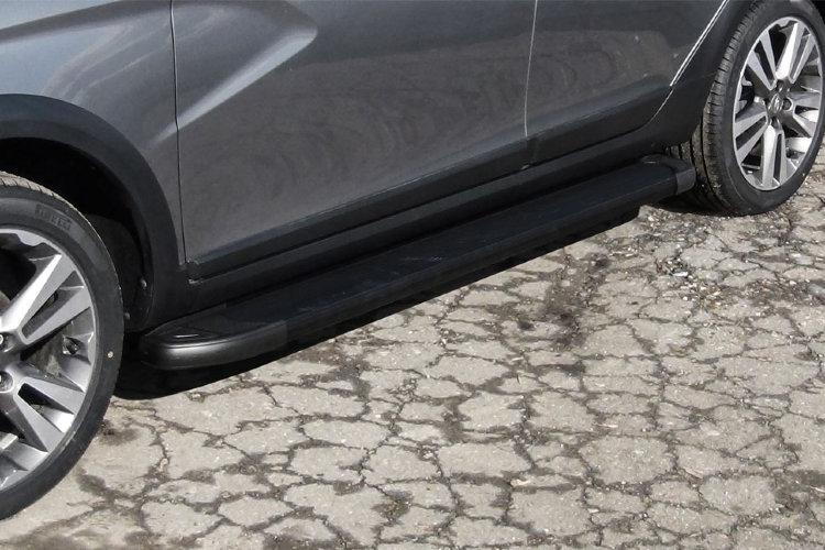 """Пороги алюминиевые """"Optima Black"""" 1800 черные Lada Vesta SW Cross"""