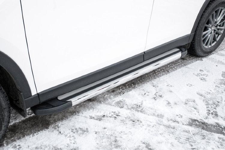 """Пороги алюминиевые """"Luxe Silver"""" 1700 серебристые Mazda CX-5 (2017)"""
