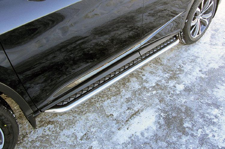 Защита порогов d57 с листом усиленная Lexus RX-350 (2015)