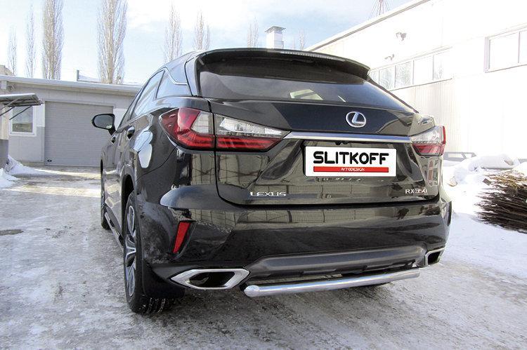 Защита заднего бампера d57 короткая Lexus RX-350 (2015)