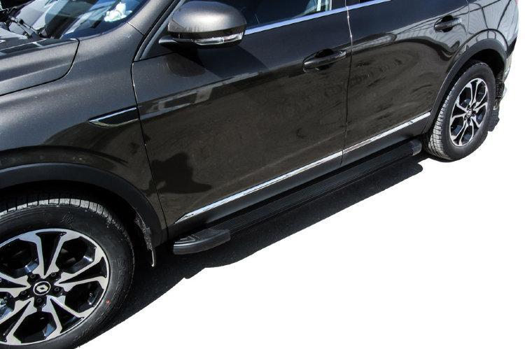 """Пороги алюминиевые """"Optima Black"""" 1700 Renault Arkana"""