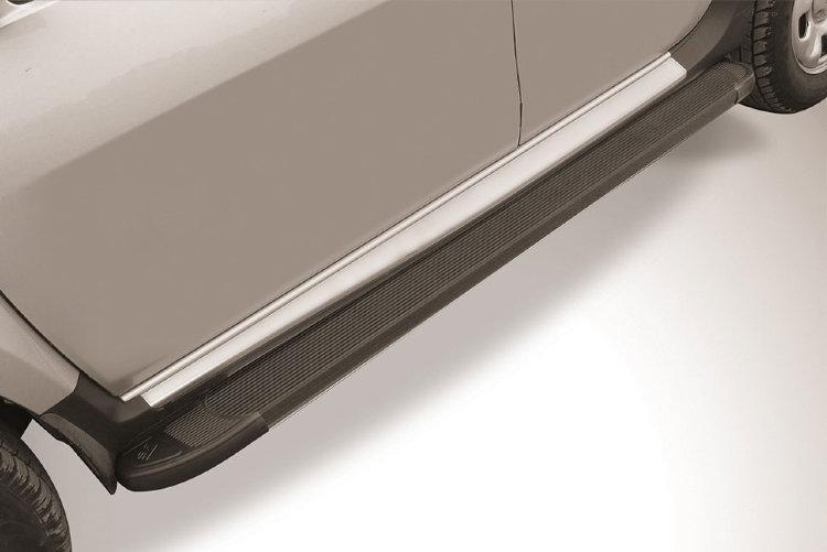 """Пороги алюминиевые """"Optima Black"""" 1800 черные Renault Duster (2015)"""
