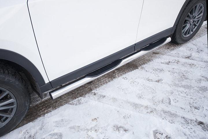 Защита порогов d76 с проступями Mazda CX-5 (2017)