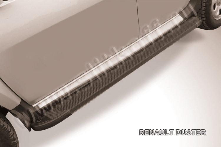 """Пороги алюминиевые """"Optima Black"""" 1800 черные Renault Duster"""