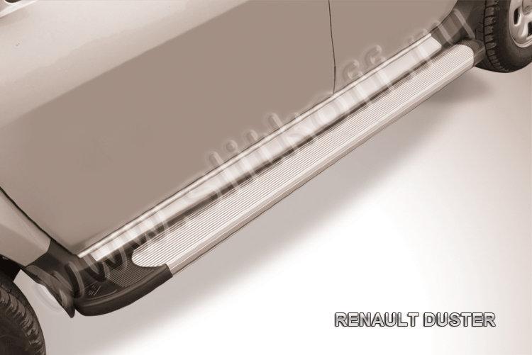"""Пороги алюминиевые """"Optima Silver"""" 1800 серебристые Renault Duster"""