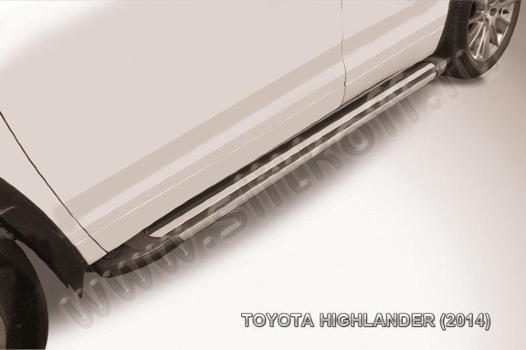 """Пороги алюминиевые """"Luxe Black"""" 1800 черные Toyota Highlander (2014)"""