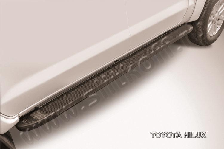"""Пороги алюминиевые """"Optima Black"""" 2000 черные Toyota Hilux"""