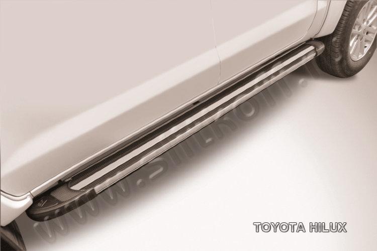 """Пороги алюминиевые """"Luxe Black"""" 2000 черные Toyota Hilux"""