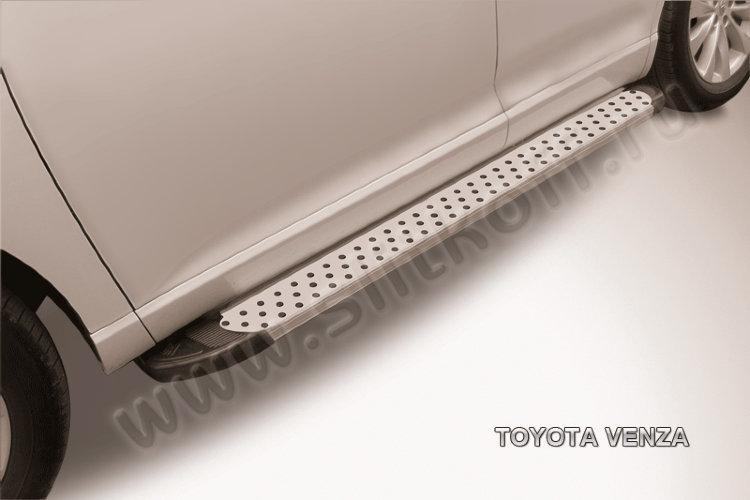 """Пороги алюминиевые """"Standart Silver"""" 1800 серебристые Toyota VENZA"""
