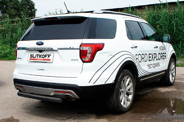 Защита заднего бампера d76 черная Ford Explorer (2018)