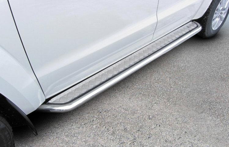 Защита порогов d57 с листом усиленная Toyota Land Cruiser Prado (2017)