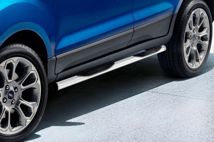 Защита порогов d76 с проступями серебристая Ford EcoSport (2017)