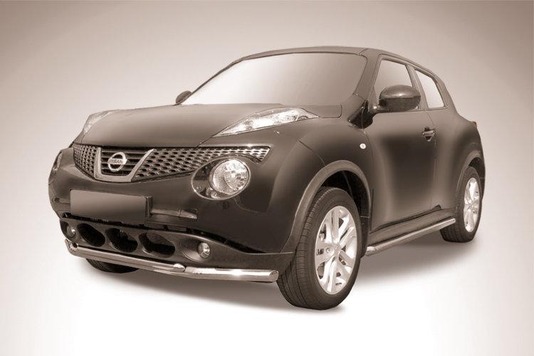 Защита переднего бампера d57+d42 двойная Nissan Juke 4WD (2011)