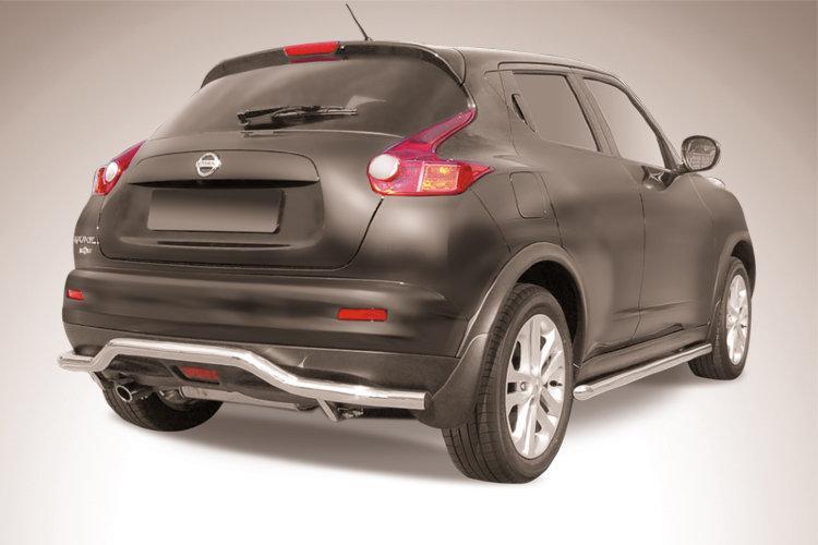 """Защита заднего бампера d57 """"волна"""" Nissan Juke 4WD (2011)"""