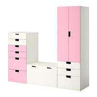 Шкафы детские комбинация д/хранения СТУВА белый/розовый ИКЕА, IKEA, фото 1