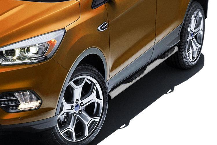 Защита порогов d76 с проступями серебристая Ford Kuga (2016)
