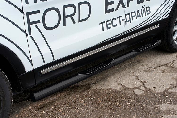 Защита порогов d76 с проступями черная Ford Explorer (2015)