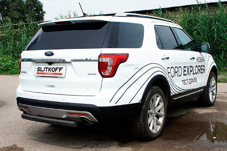 Защита заднего бампера d76 черная Ford Explorer (2015)