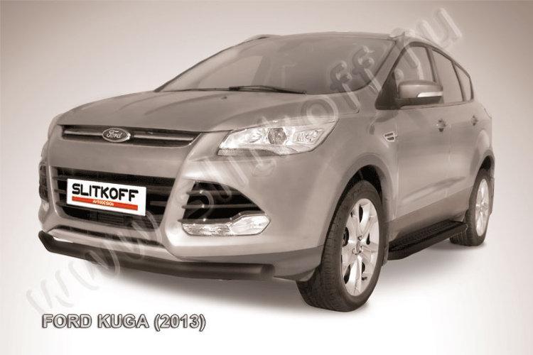 Защита переднего бампера d76 черная Ford Kuga (2013)
