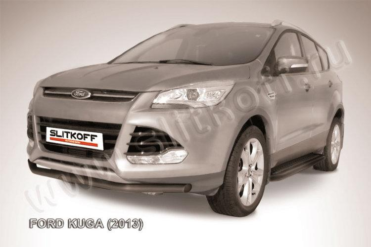 Защита переднего бампера d57 черная Ford Kuga (2013)