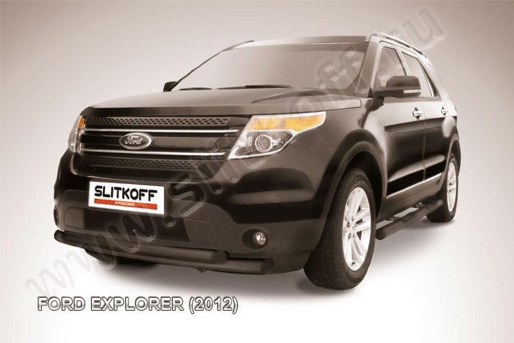 Защита переднего бампера d76+d57 двойная черная Ford Explorer (2012)