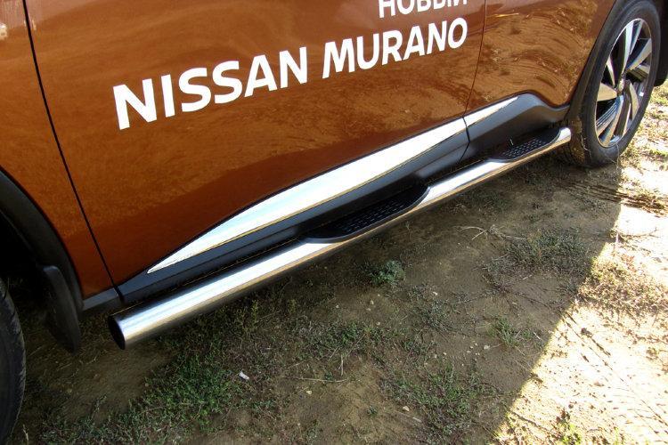Защита порогов d76 с проступями Nissan Murano (2016)