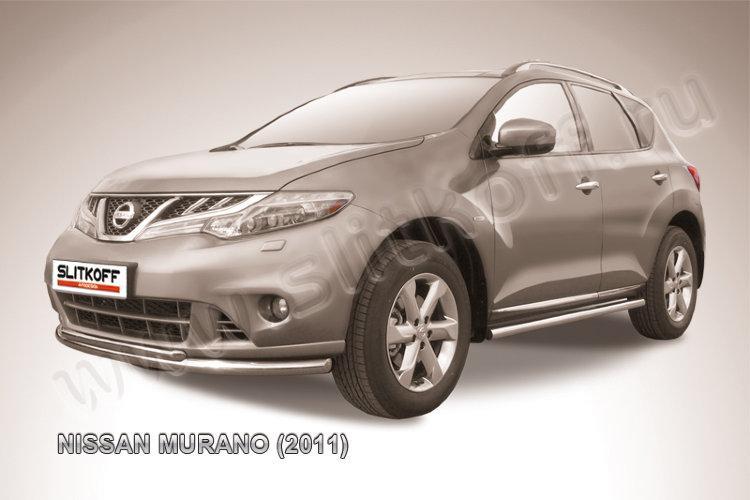 Защита переднего бампера d57+d42 двойная Nissan Murano (2011)
