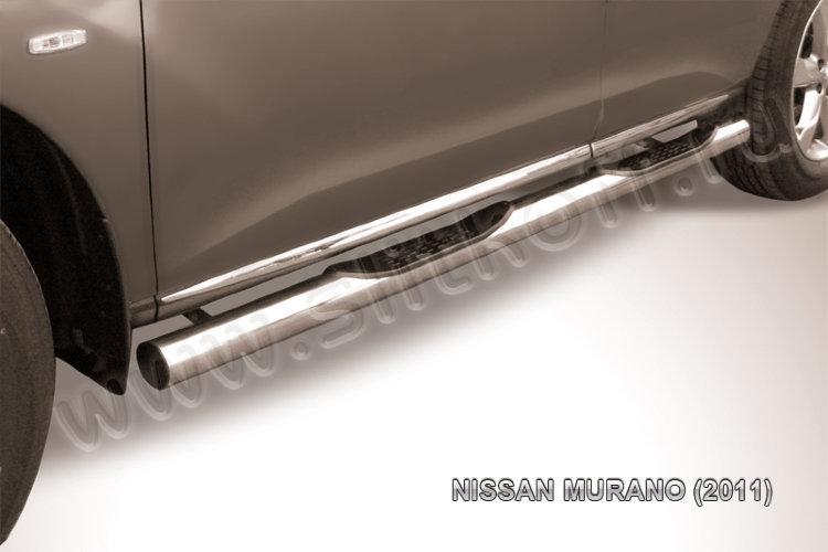 Защита порогов d76 с проступями Nissan Murano (2011)