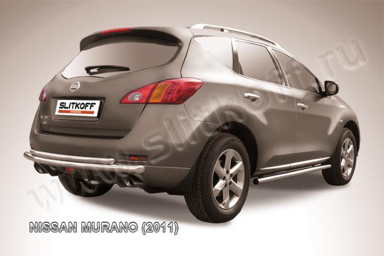 Защита заднего бампера d57+d42 двойная Nissan Murano (2011)
