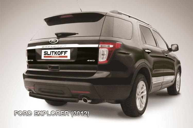 Защита заднего бампера d76 черная Ford Explorer (2012)