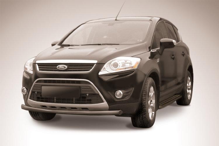 Защита переднего бампера d57 черная Ford Kuga (2008)