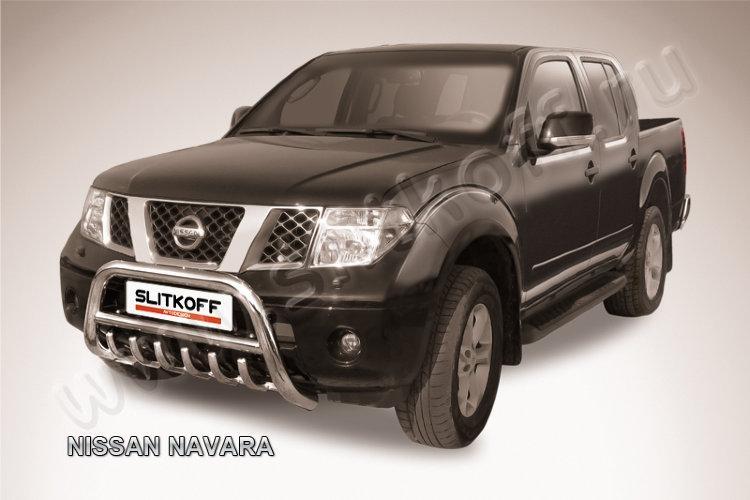 Кенгурятник d76 низкий с защитой картера Nissan Navara