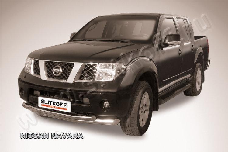 Защита переднего бампера d76+d57 двойная Nissan Navara