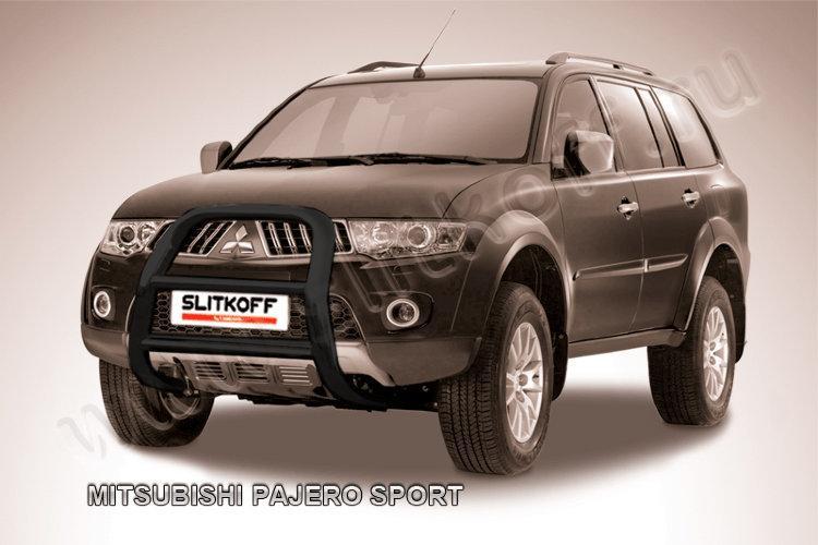 Кенгурятник d57 высокий черный Mitsubishi Pajero Sport (до 2010)