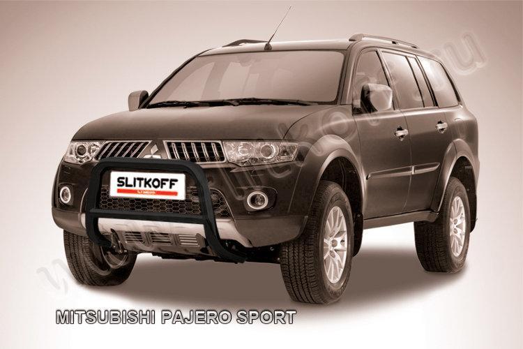Кенгурятник d57 низкий черный Mitsubishi Pajero Sport (до 2010)
